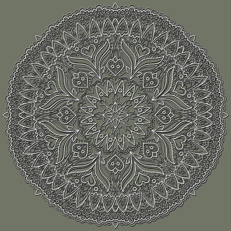 Fantasy ornament done in kaleidoscopic style. Stylized flower made from fractals. Geometric circle vector image.