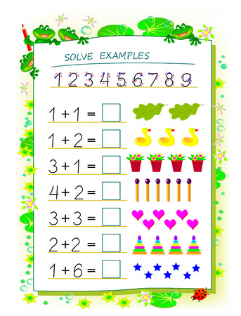 Educational page for children math book with exercises on addition. Need to solve examples and write numbers in squares. Printable worksheet for kids textbook. Back to school. Vector cartoon image. Ilustrace