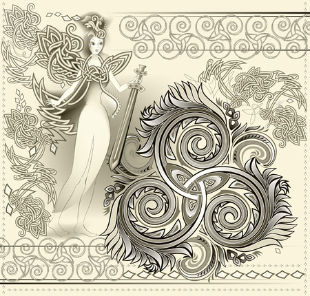 Fantastic Celtic ornament with triple spiral symbol and ancient medieval fairy holding sword. Beautiful Gothic Western Europe decoration. Printable pattern for modern print, Henna, Mehndi, tattoo. Ilustração