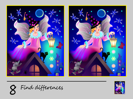 Logic puzzle game for children. Need to find 8 differences. Printable page for baby brainteaser book. Cute fairy with lantern. Developing skills for counting. Vector cartoon image.