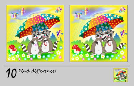 Juego de rompecabezas de lógica para niños. Necesito encontrar 10 diferencias. Página imprimible para libro de rompecabezas para bebés. Dos mapaches bajo el paraguas. Desarrollar habilidades para contar. Imagen de dibujos animados de vector.