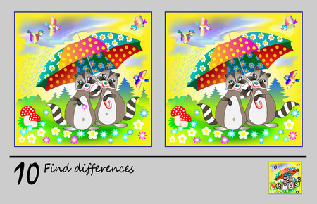 Logic puzzle game for children. Need to find 10 differences. Printable page for baby brainteaser book. Two raccoon under umbrella. Developing skills for counting. Vector cartoon image.