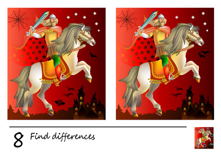 Logic puzzle game for children. Need to find 8 differences. Printable page for baby brainteaser book. Medieval knight riding a horse. Developing skills for counting. Vector cartoon image.