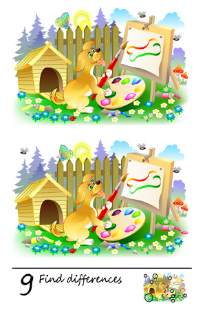 Logic puzzle game for children. Need to find 9 differences. Printable page for baby brainteaser book. Cute puppy painting the picture. Developing skills for counting. Vector cartoon image. Ilustrace