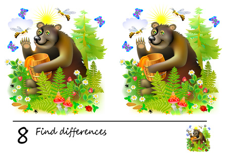 Logic puzzle game for children. Need to find 8 differences. Printable page for baby brainteaser book or kids magazine publishing. Cute bear with barrel of honey. Developing skills for counting. Ilustração