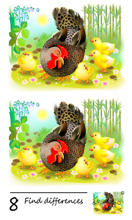 Logic puzzle game for children. Need to find 8 differences. Chicken family and their mother hen. Printable page for baby brainteaser book or kids magazine publishing. Developing skills for counting.