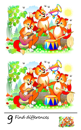 Logic puzzle game for children. Need to find 9 differences. Cute foxes play music in orchestra. Printable page for baby brain-teaser book or kids magazine publishing. Developing skills for counting.