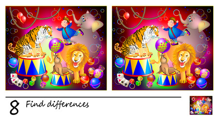 Logic puzzle game for children. Need to find 8 differences. Circus performance with animals. Printable page for baby brain-teaser book or kids magazine publishing. Developing skills for counting. Ilustração