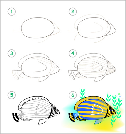 Educational page for kids shows how to learn step by step to draw a beautiful tropical aquarium fish. Back to school. Developing children skills for drawing and coloring. Vector cartoon image.