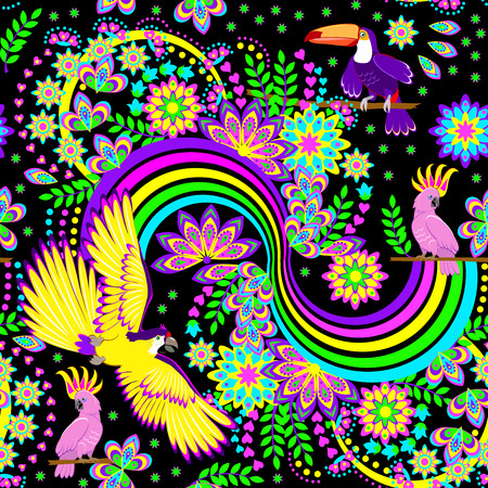 Seamless pattern ornament with fantasy rainbow and tropical birds scattered in the jungle on black background. Modern popular print for wallpaper and textile. Vector cartoon image.