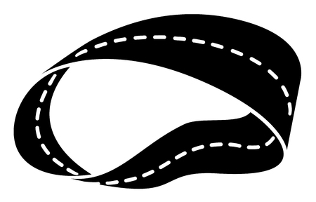 The road passing along Mobius strip, white and black vector image. Ilustração