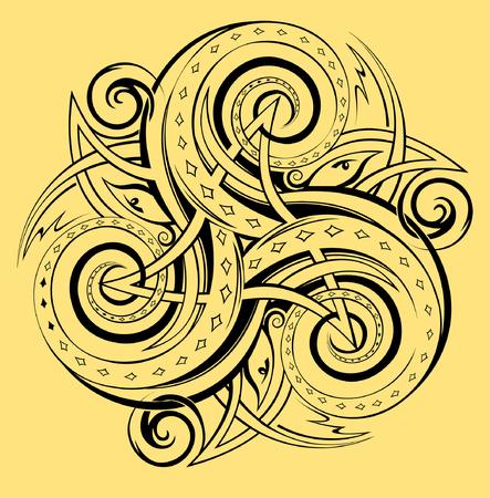 Celtic disk ornament with triple spiral symbol, black and white vector image. Ilustração
