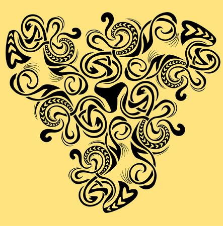 Medieval ornament with symbol, white and black vector image. Ilustração