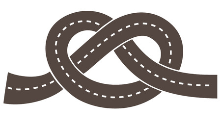 Road leading through the knot, black and white vector image for logo.