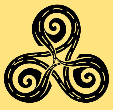 Three roads leading in Celtic disk ornament with triple spiral symbol, black and white vector image.
