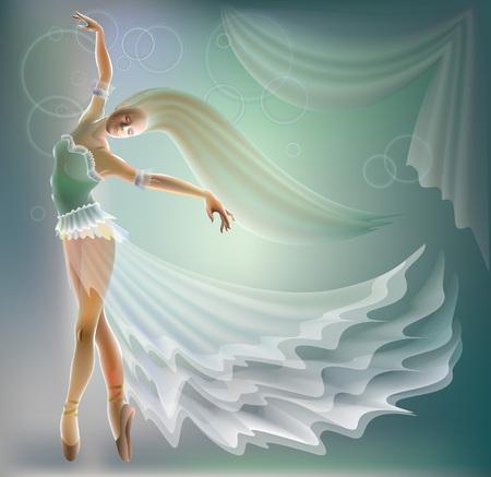 Fantasy illustration of dancing ballerina, vector cartoon image. Ballet poster.