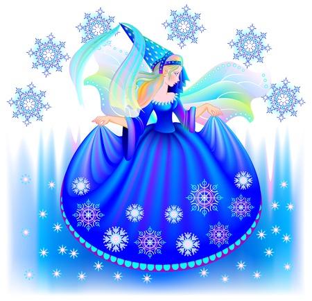 Fantasy illustration of beautiful fairy in winter, vector cartoon image.