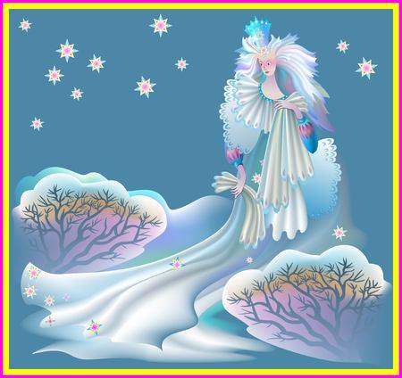 Illustration of snow queen, vector cartoon image.