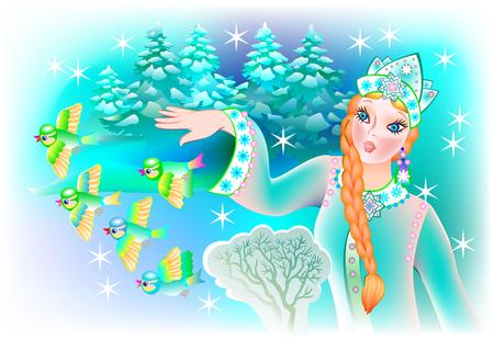 Illustration of Snow queen with birds, vector cartoon image. Standard-Bild - 122494310