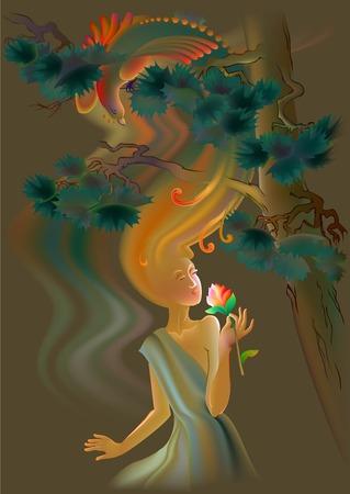 Beautiful women smells the flower, vector cartoon image.