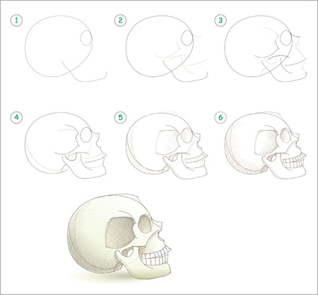 Page shows how to learn step by step to draw a human skull by pencil. Developing children skills for drawing. Back to school. Printable worksheet for artists textbook. Hand-drawn vector image.
