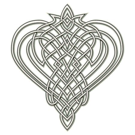 Dibujo de fantasía de adorno popular celta con patrón de nudos entrelazados, símbolo del corazón, logotipo. Plantilla imprimible para impresión moderna, camiseta, bordado, Henna, Mehndi, tatuaje, decoración. Dibujado a mano.