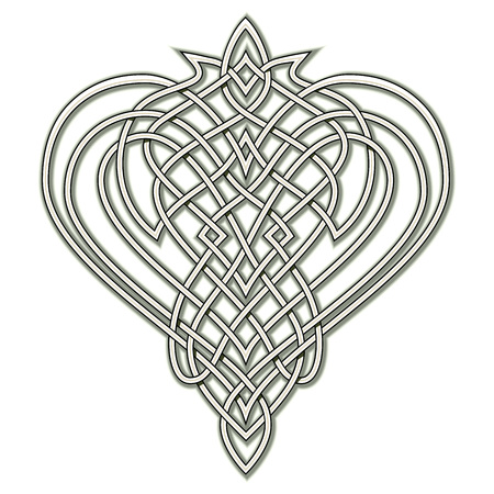 Fantasy drawing of Celtic popular ornament with interweaving knot pattern, heart symbol, logo. Printable template for modern print, t-shirt, embroidery, Henna, Mehndi, tattoo, decoration. Hand-drawn. Ilustração