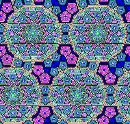 Seamless pattern made of tiled floor with oriental folk ornament. Modern popular print. Eastern ethnic decoration. Vector image. Ilustração