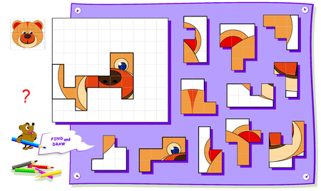 Logic puzzle game for kids on square paper. Need to find place for all details and paint image. Worksheet for school textbook. Development of children spatial thinking skills. Brainteaser book.