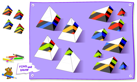 Logic puzzle game for kids. Need to find missing parts of pyramids and paint them in correct places. Worksheet for school textbook. Development of children spatial thinking skills. Brainteaser book. Ilustração