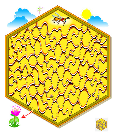Logic puzzle game with labyrinth for children and adults. Help the bee find the way out of the honeycomb till the flower. Printable page for brainteaser book. Vector cartoon image.