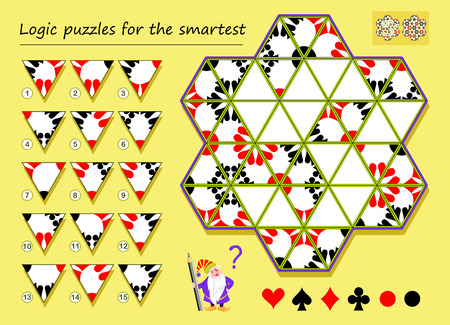 Logic puzzle game for smartest. Need to find the correct places for remaining triangles and draw them. Printable page for brainteaser book. Developing spatial thinking. Vector cartoon image. Ilustração