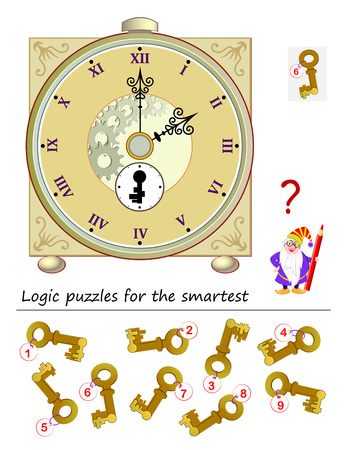 Logic puzzle game for smartest. Help the wizard find the correct key to start the antique clock. Printable page for brainteaser book. Developing spatial thinking. Vector cartoon image.