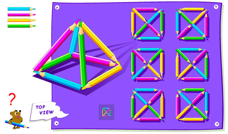 Logic puzzle game for kids. Need to find correct top view of pyramid of pencils. Worksheet for school textbook. Printable page for brainteaser book. Development of children spatial thinking skills.