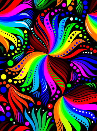 Seamless pattern with rainbow colors on a black background, vector image. Ilustração