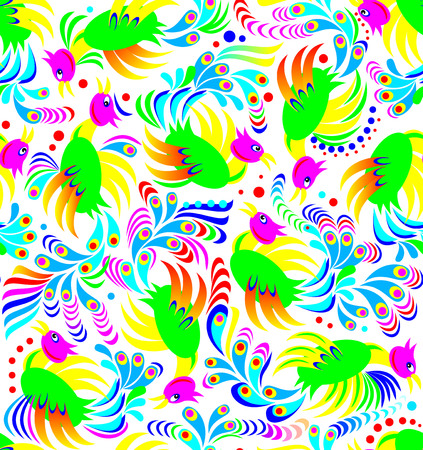Seamless pattern with fantasy birds on a white background, vector cartoon image.
