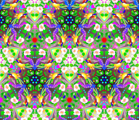 Fantastic seamless ornament done in kaleidoscopic style. Vector cartoon image.