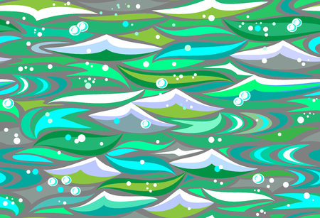 Seamless pattern with beautiful abstract green waves, vector image. Banco de Imagens - 124090097