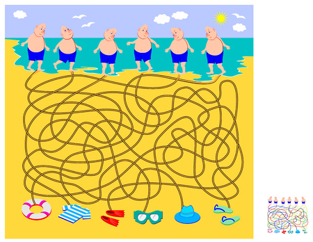 Logic puzzle game with labyrinth for children. What things everybody has lost on the beach? Help every swimmer find his stuff. Draw the way. Printable worksheet for brainteaser book. Vector cartoon image.
