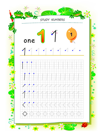 Educational page on square paper for kids with number 1. Printable worksheet for children textbook. Developing skills of counting, writing and tracing. Baby book. Back to school. Vector image. Ilustração