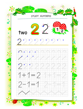 Educational page on square paper for kids with number 2. Printable worksheet for children textbook. Developing skills of counting, writing and tracing. Baby book. Back to school. Vector image. Ilustração