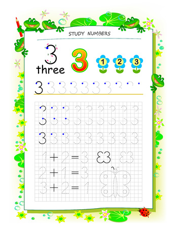 Educational page on square paper for kids with number 3. Printable worksheet for children textbook. Developing skills of counting, writing and tracing. Baby book. Back to school. Vector image. Ilustração