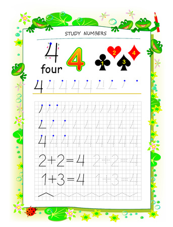 Educational page on square paper for kids with number 4. Printable worksheet for children textbook. Developing skills of counting, writing and tracing. Baby book. Back to school. Vector image.