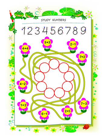 Educational page for children math book with exercises on addition and subtraction. Need to solve examples and write numbers in circles. Printable worksheet for kids textbook. Back to school.