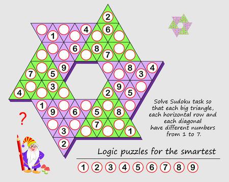 Logik-Puzzle-Spiel für Kinder und Erwachsene. Lösen Sie die Sudoku-Aufgabe so, dass jedes große Dreieck, jede horizontale Reihe und jede Diagonale unterschiedliche Zahlen von 1 bis 7 haben. Druckbare Seite für Denksportaufgaben. Vektorgrafik
