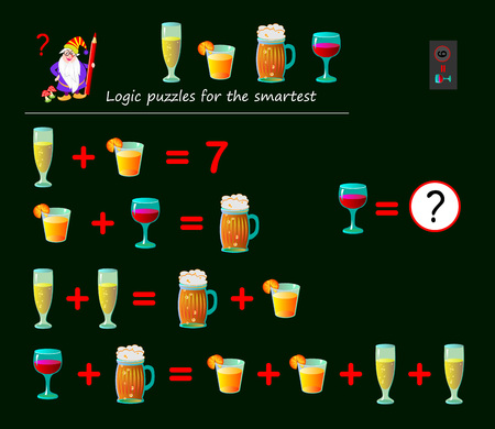 Mathematical logic puzzle game for smartest. Solve examples and count which of numbers corresponds to each of drink. Printable page for brainteaser book. Developing spatial thinking. Vector image.