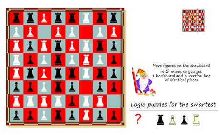 Logic puzzle game for smartest. Move figures on chessboard in 5 moves so you get 1 horizontal and 1 vertical line of identical pieces. Printable page for brainteaser book. Developing spatial thinking.