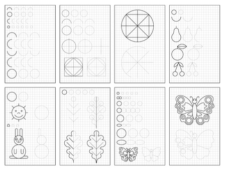 Set of black and white educational pages on square paper for kids. Printable worksheet for children textbook. Developing skills of counting, drawing, writing and tracing. Baby book. Back to school. Banco de Imagens - 124090107
