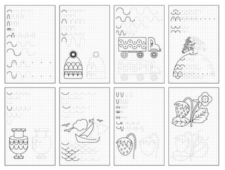 Conjunto de páginas educativas en blanco y negro sobre papel cuadrado para niños. Hoja de trabajo imprimible para libros de texto para niños. Desarrollar habilidades para contar, dibujar, escribir y calcar. Libro de bebé. De vuelta a la escuela.