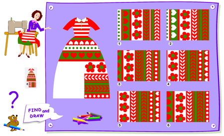 Logic puzzle game for kids. Help the dressmaker finish sewing the dress. Find a suitable piece of cloth to cut of it and draw in empty place. Worksheet for school textbook. Brainteaser book.
